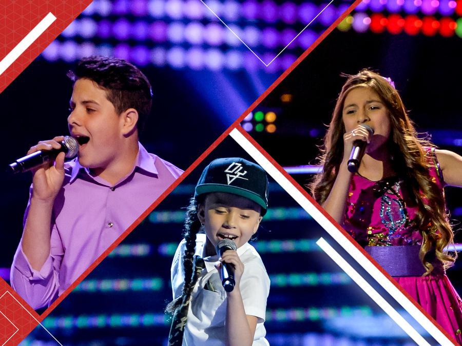 Angel, Carmen y Magallie cantando en las batallas en La Voz Kids