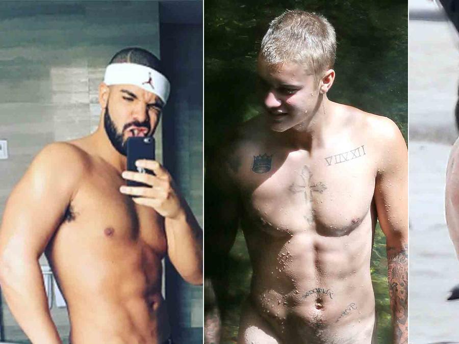 Drake, Justin Bieber y Zac Efron sin camisa