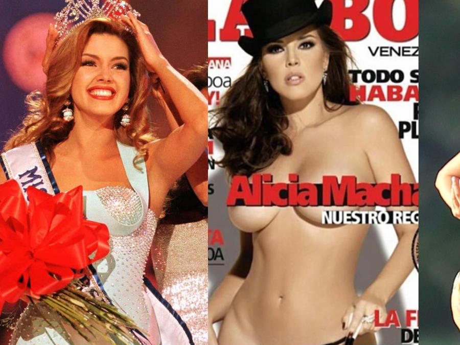 Alicia Machado con corona de Miss Universo en portada de Playboy y en playa