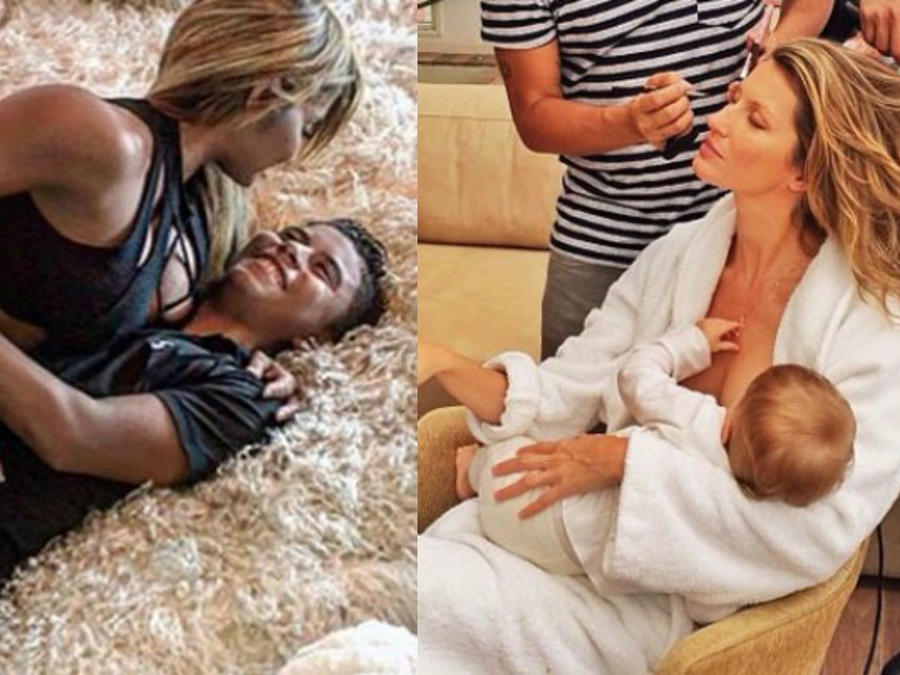 Maripily Rivera acostada encima de su hijo Joe Joe y Gisele Bündchen amamantando a su bebé mientras personas la maquillan y hacen el manicure