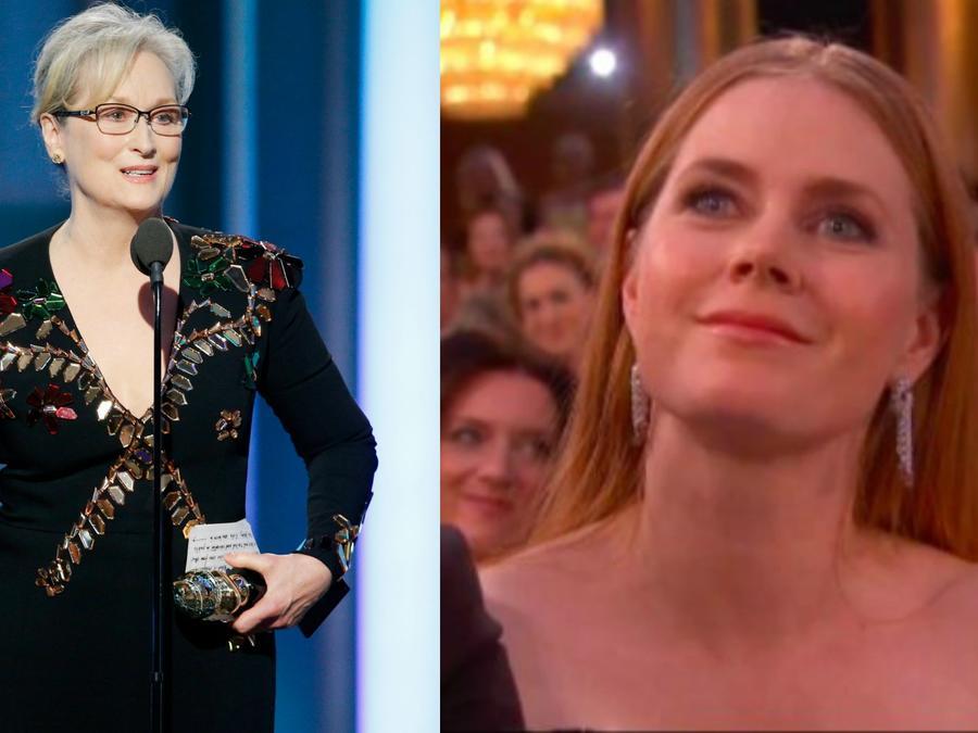 Meryl Streep durante su discurso en los Golden Globes y la reacción de Amy Adams.