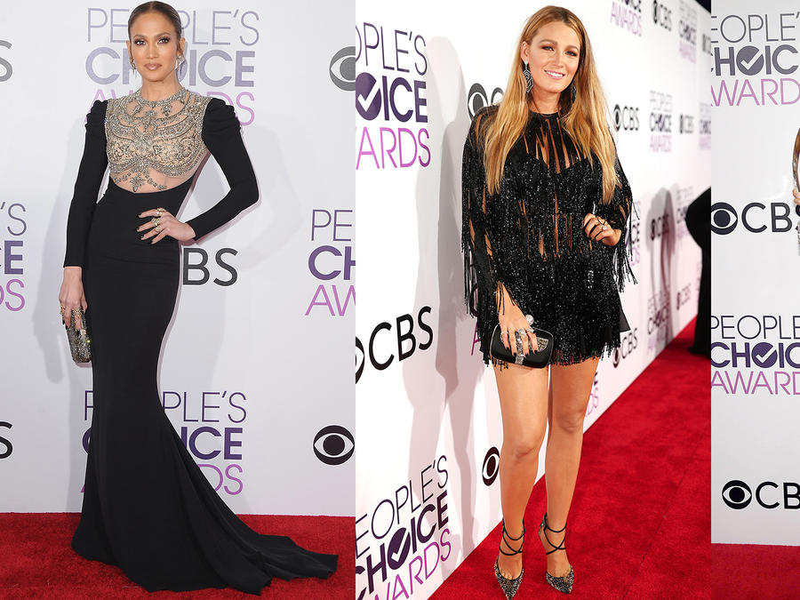 Collage: Sofía Vergara, Jennifer Lopez y Blake Lively en los People's Choice Awards.