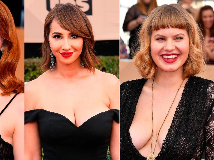 Collage de fotos de Emma Stone, Jackie Cruz y Emily Althaus en los SAG Awards 2017.