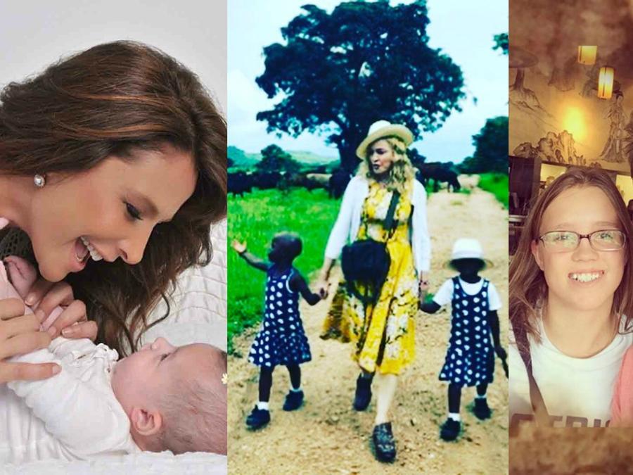 Lorena Rojas con Luciana, Madonna con Stella y Esther, y Carlos Ponce con su hija.