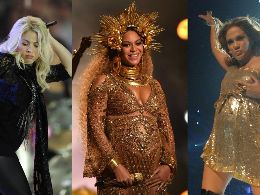 Shakira, Beyonce y JLo en el escenario durante sus embarazos.