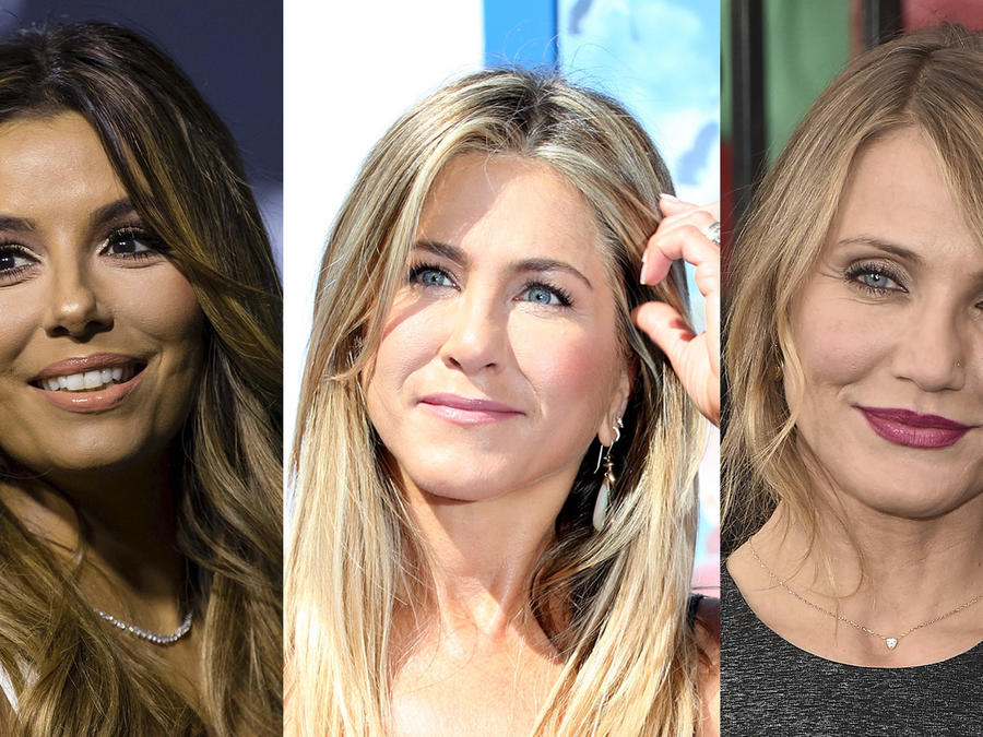 Collage de fotos de Eva Longoria, Jennifer Aniston y Cameron Díaz.