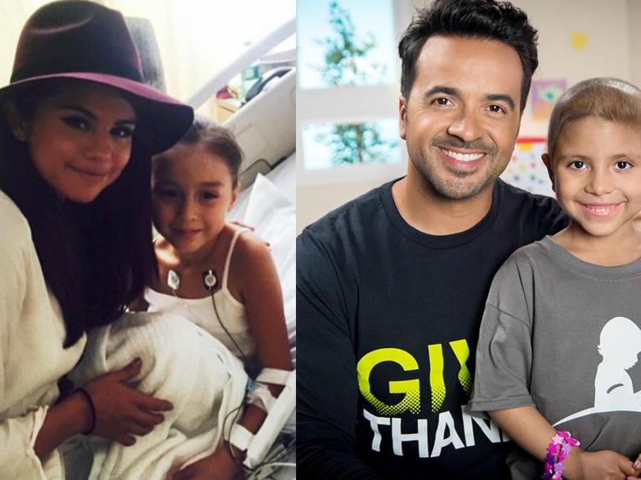 Selena Gomez y Luis Fonsi con fans pequeños en hospitales.