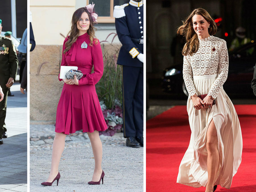 Reina Raina de Jordania, princesa Sofía de Suecia y princesa Kate Middleton caminando