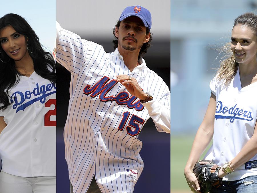 Collage de fotos de Kris Jenner, Kim Kardashia, Marc Anthony  y Jessica Alba siguiendo a sus equipos de béisbol favoritos.