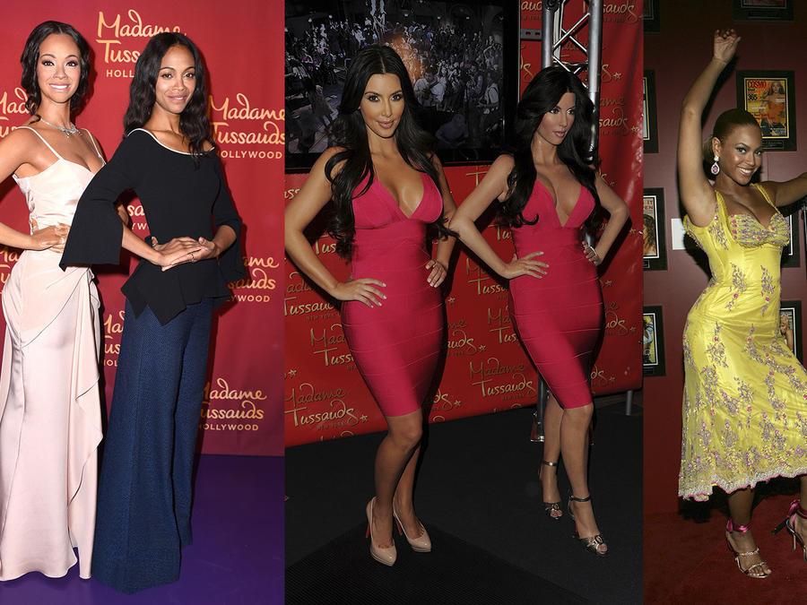 Collage de fotos de Kim Kardashian, Beyoncé y Zoe Saldana con sus réplicas de cera.