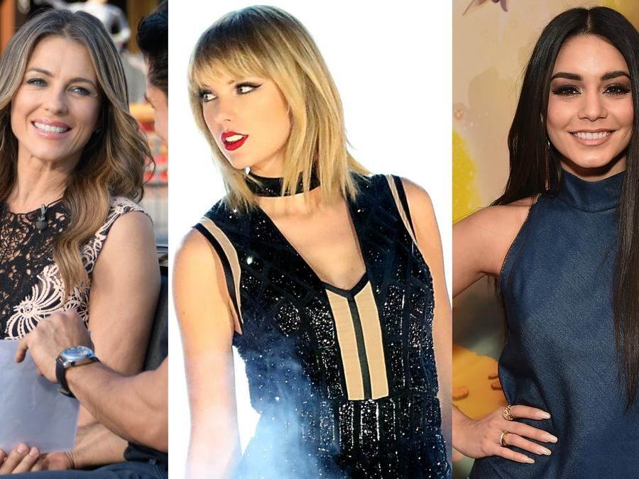 Collage de Elizabeth Hurley, Taylor Swift y Vanessa Hudgens.