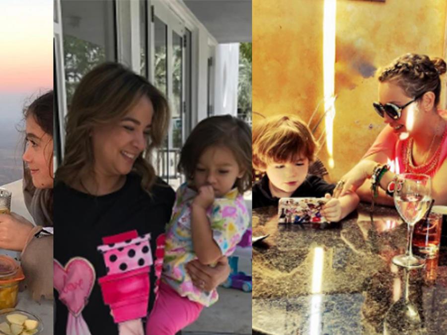 Collage de fotos de Salma Hayek, Adamari López y Thalía junto a sus hijos Valentina, Alaia y Matthew.