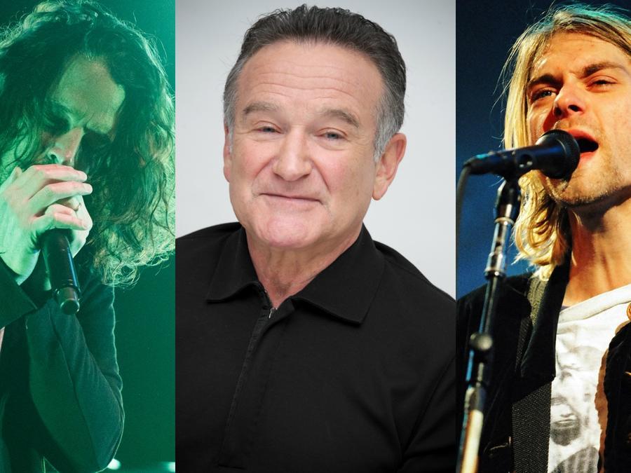 Collage de Chris Cornell, Robin Williams y Kurt Cobain.
