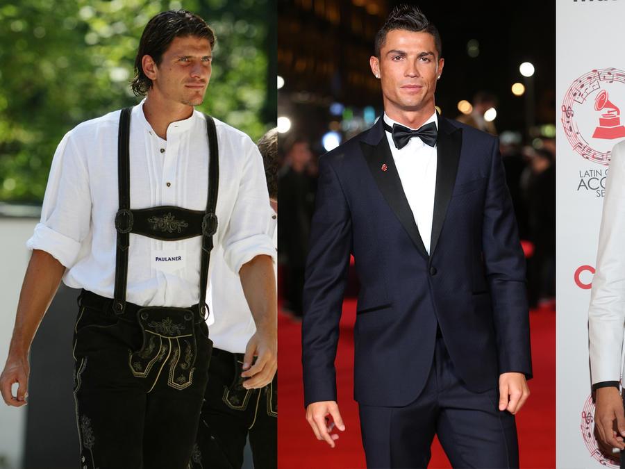 Collage de fotos de Mario Gomez Garcia, Cristiano Ronaldo y Diego Reyes.