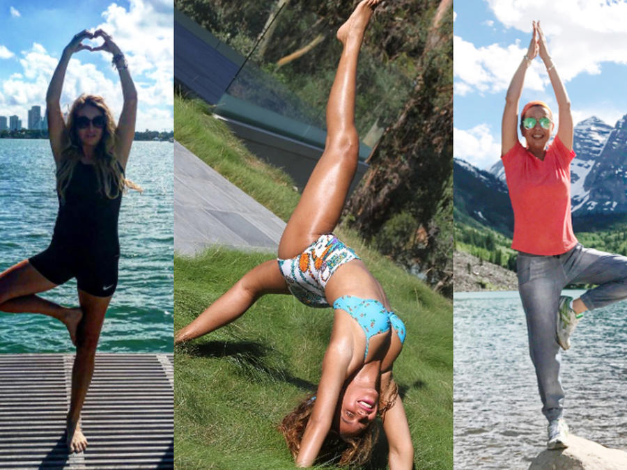 Collage de Paulina Rubio, Beyoncé y Thalía practicando yoga.