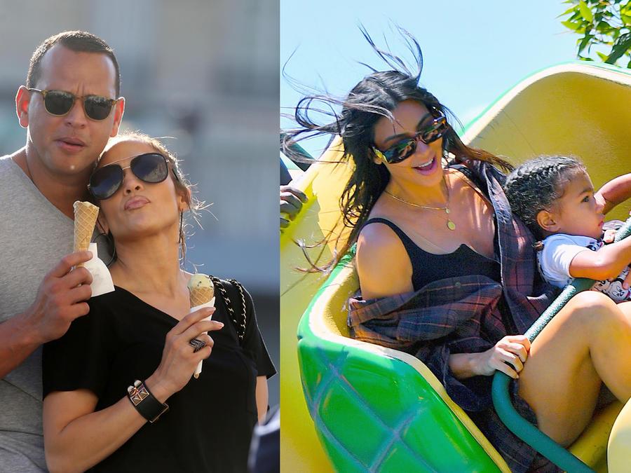 Collage de Jennifer Lopez y Alex Rodriguez, Kim Kardashian y North West en verano de 2017.