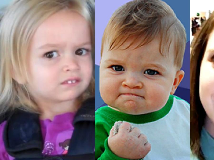 Collage de tres populares memes.