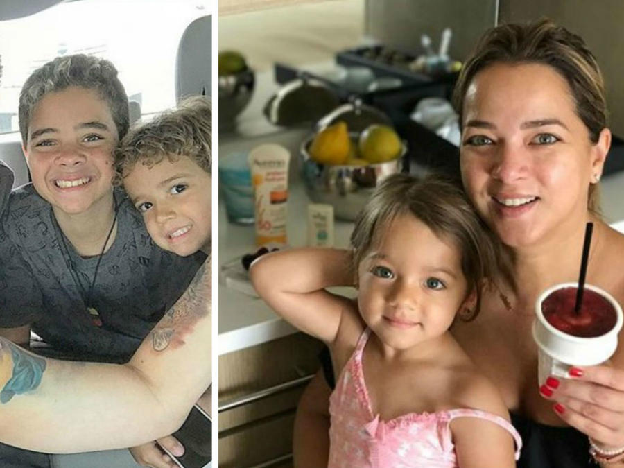 Collage Alaïa y Adamari y Nacho con sus hijos