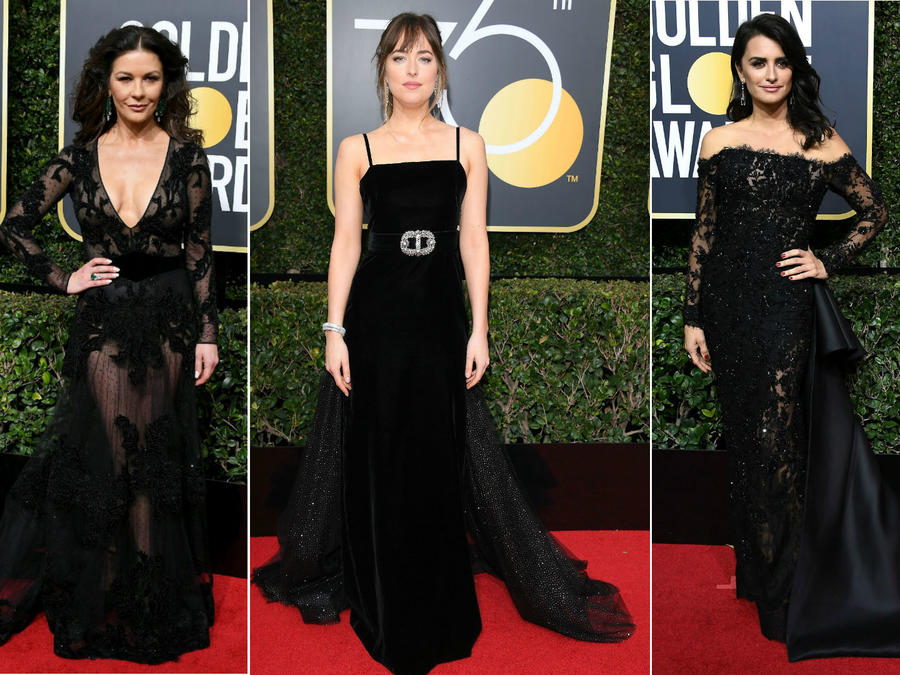 Collage actrices en los Golden Globes 2018