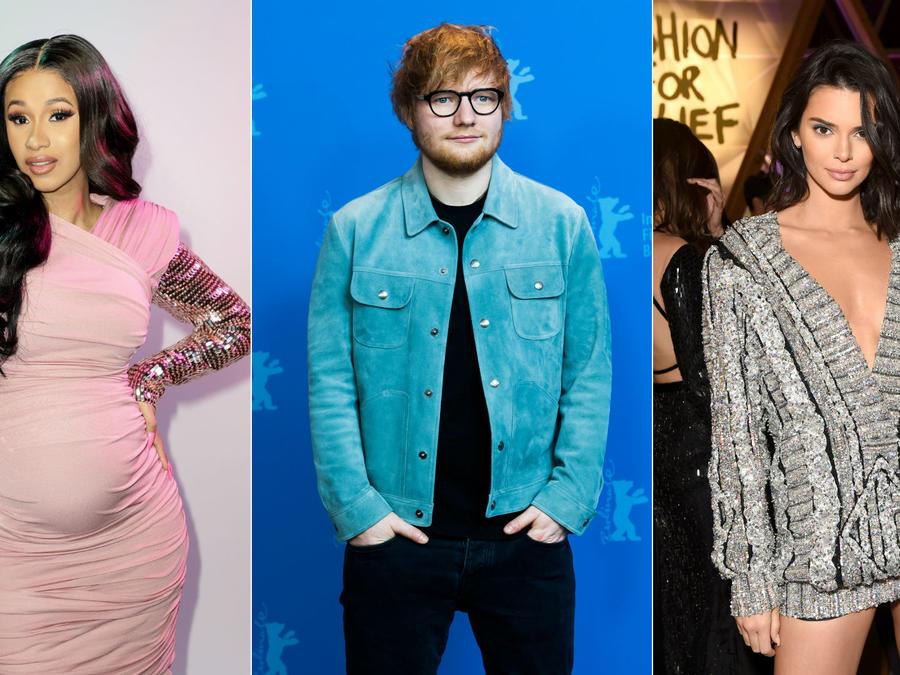 Cardi B, Ed Sheeran, Kendall Jenner