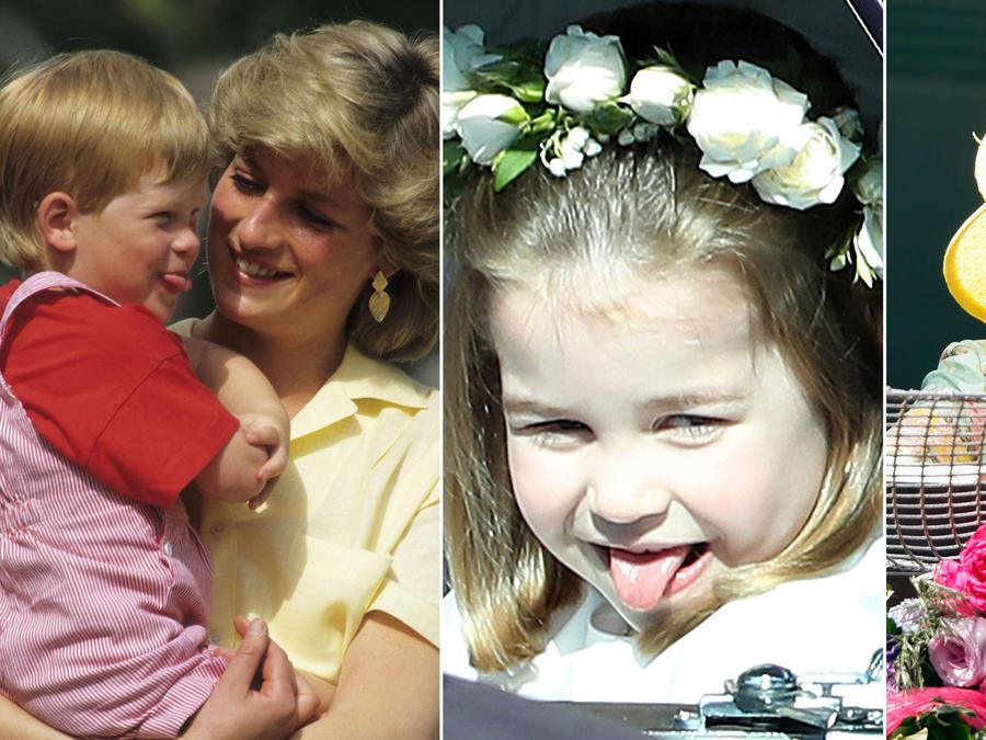 Harry, Charlotte y la reina Elizabeth II ensenando la lengua