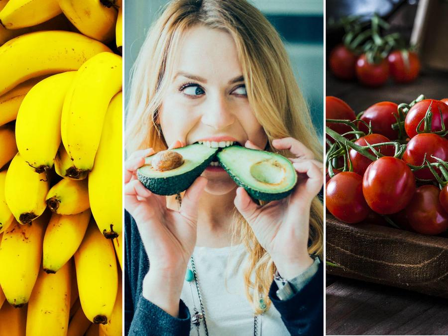 Plátanos, aguacate y tomates
