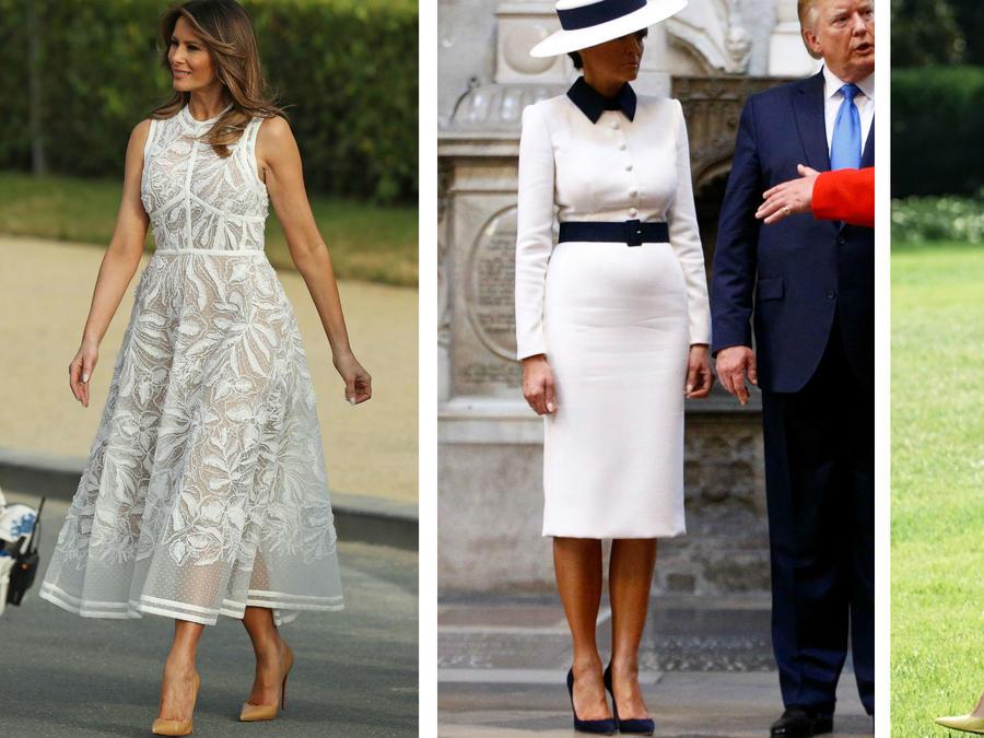 Melania Trump vestida de blanco