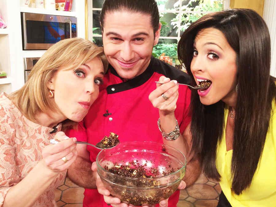 Laura Flores junto al Chef James y Erika Csiszer