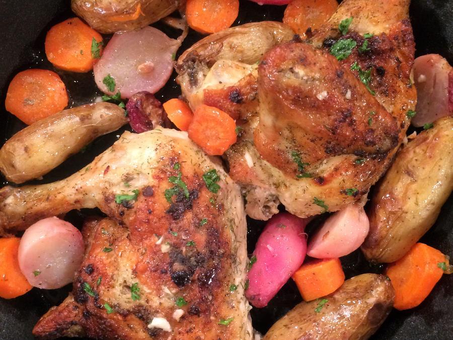 Pollo rostizado con vegetales