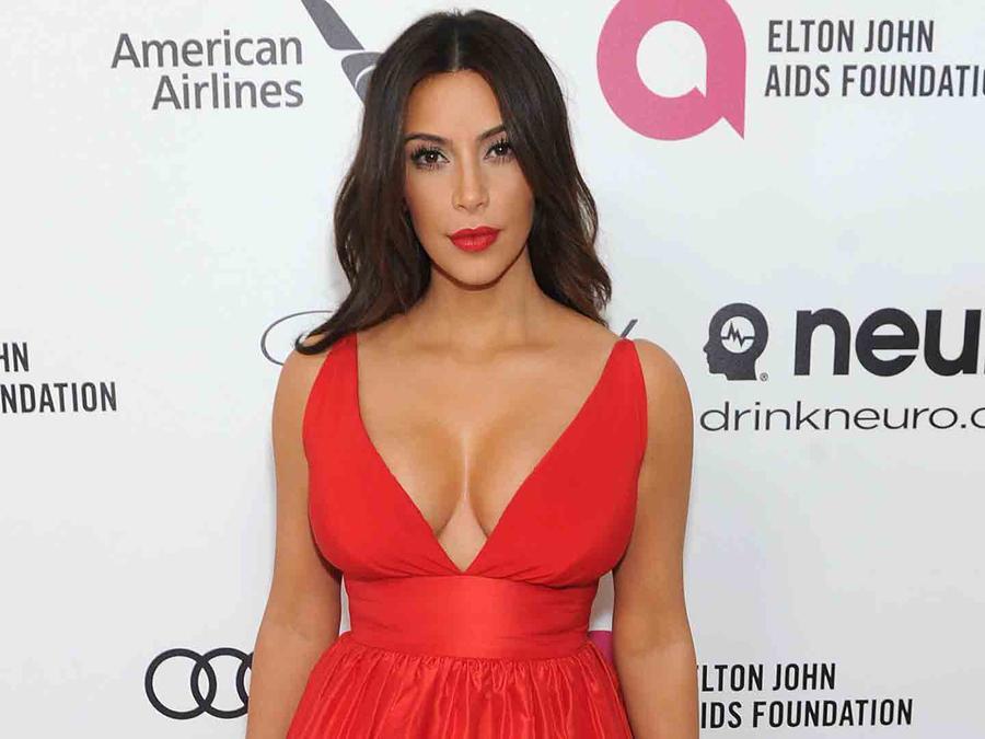 Kim Kardashian en Elton John Aids Foundation Academy Awards 2014