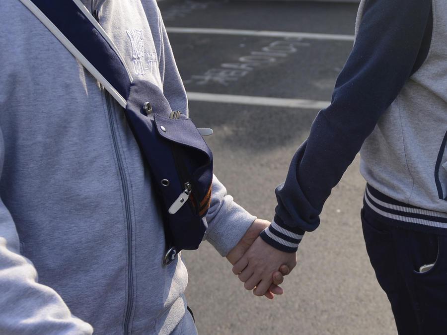 pareja gay de la mano