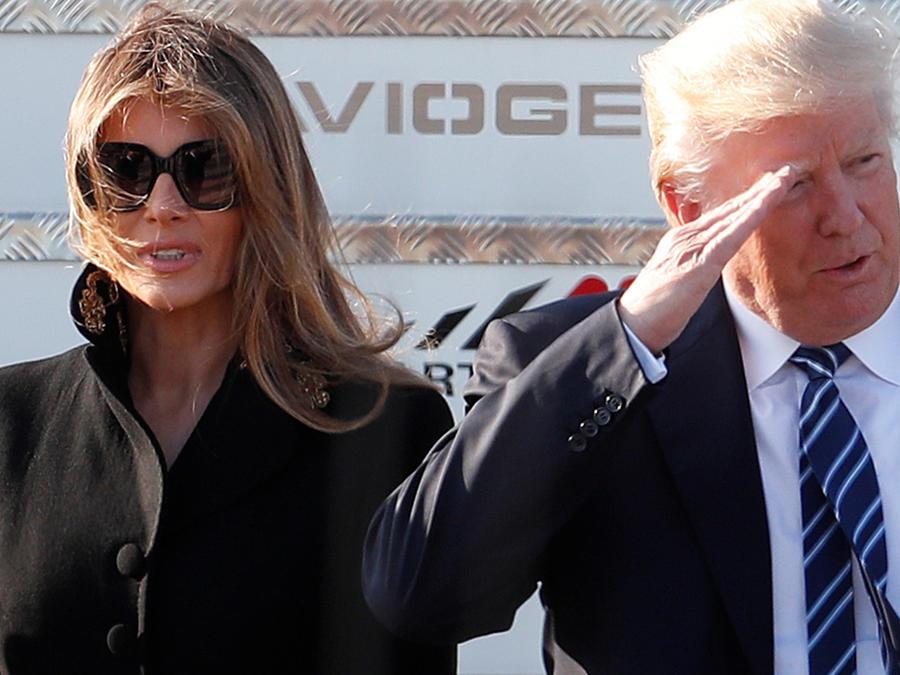 US President Donald Trump and first lady Melania Trump arrive at the Leonardo Da Vinci Airport in Rome