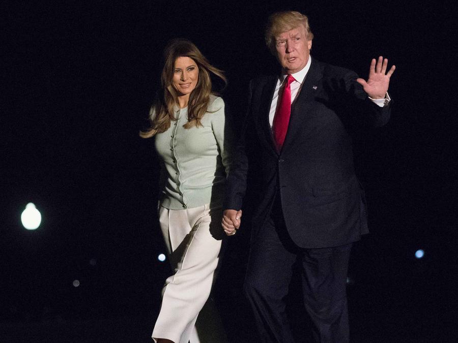 Presidente Donald Trump a su llegada a EEUU tras su primera gira internacional