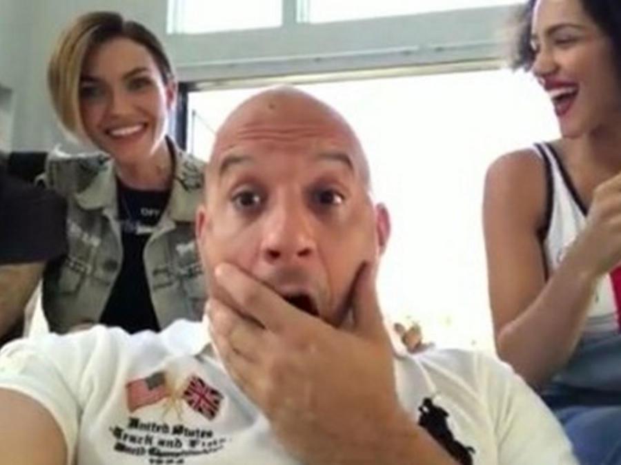 Vin Diesel con Ruby Rose y Nathalie Emmanuel
