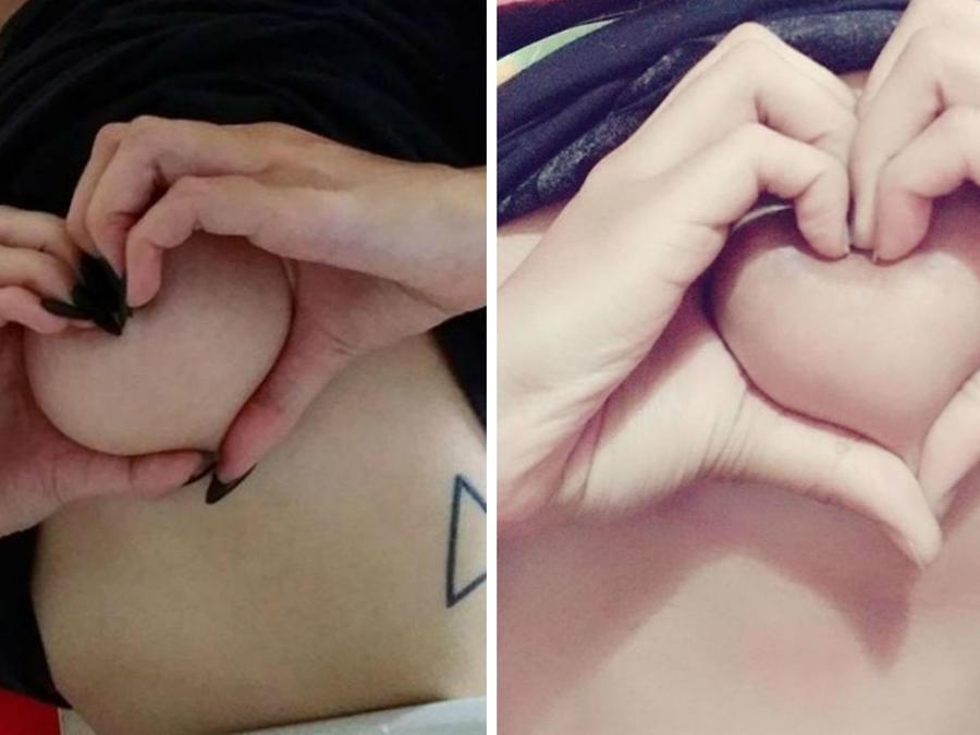 Collage dos mujeres haciendo el reto de pechos corazón
