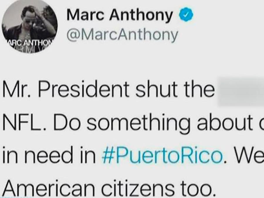 Marc Anthony mandó a callar a Donald Trump por no hablar de Puerto Rico y el Huracán María