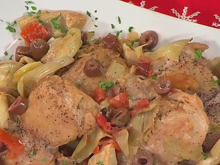 Recetas de cocina: Pollo con Alcachofas y Aceitunas en Salsa de Vino Blanco