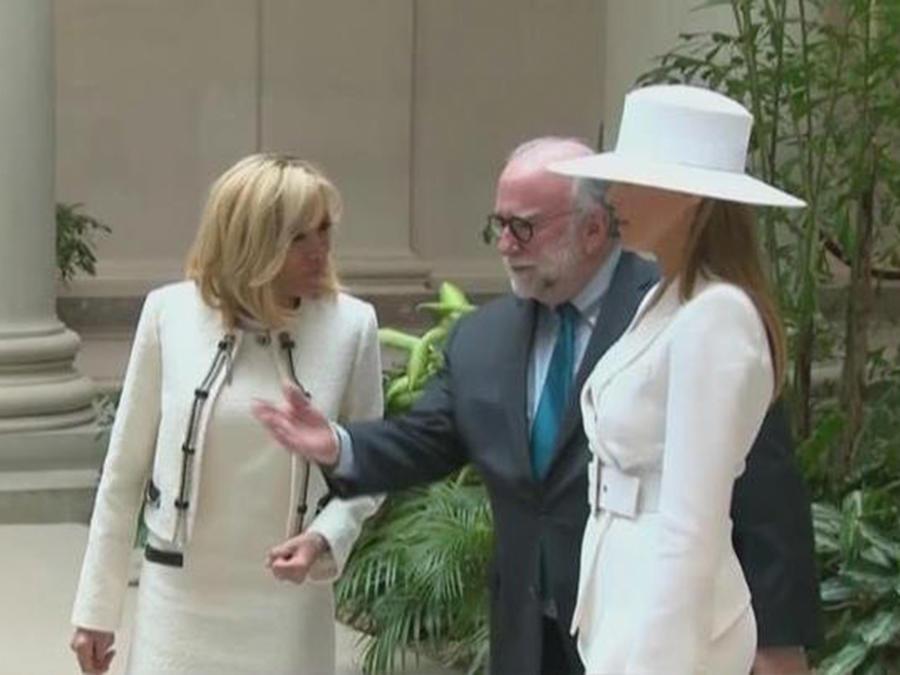 Melania Trump deslumbró durante la visita del presidente francés a la Casa Blanca