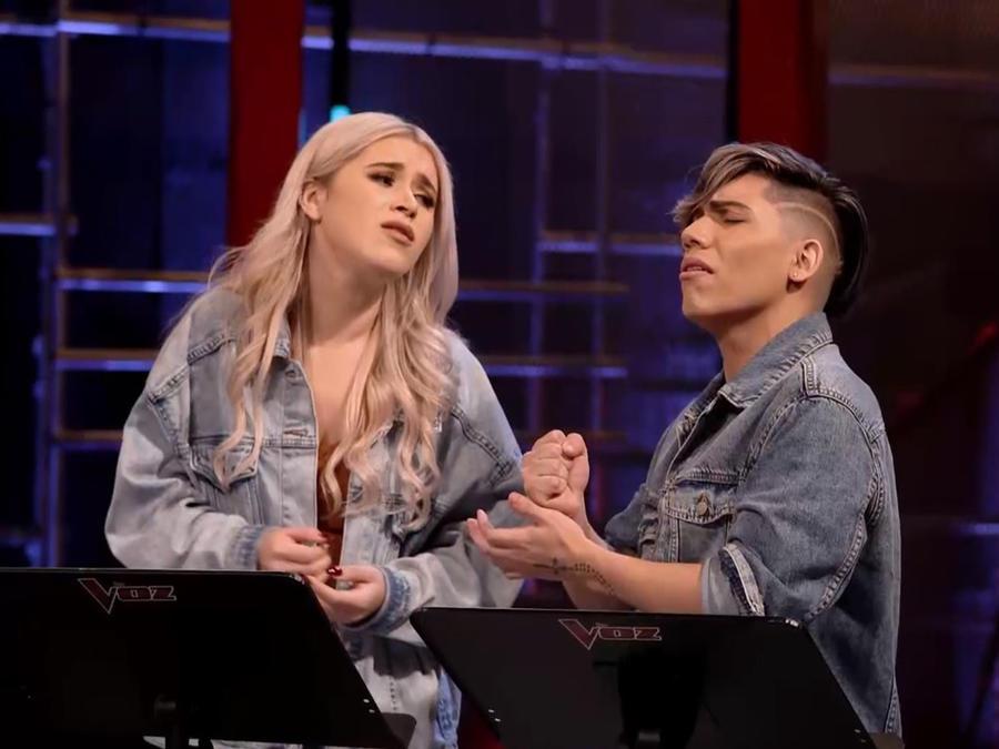 Andrea Serrano y Ericson Gonzales en los ensayos previos a La Voz US 2
