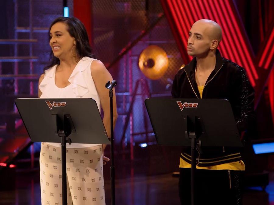 Eliana Sasics y Jose Palacio en los ensayos previos a las batallas de La Voz US 2