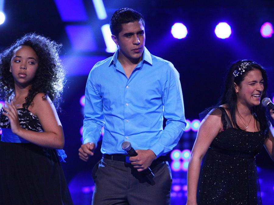 Paola, Eloy y Lisbet en las batallas de La Voz Kids