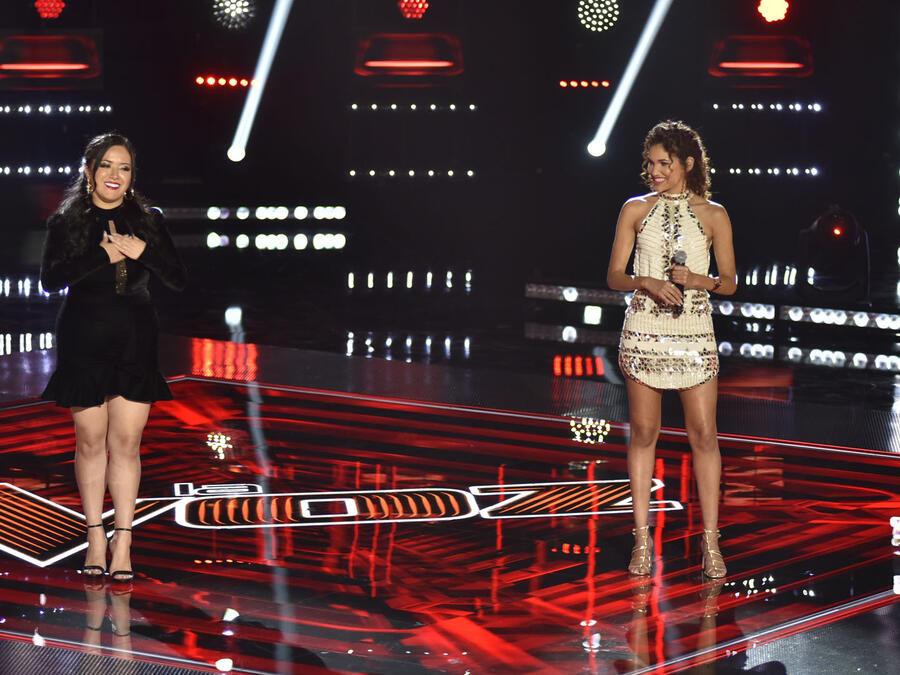 Janine Rivera y Rubi Monge en los enfrentamientos de La Voz US 2