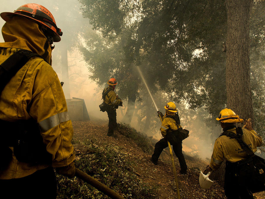 Los bomberos luchan contra un incendio forestal cerca de una estructura mientras defienden el observatorio de Mount Wilson durante el incendio Bobcat en Los Ángeles, California.