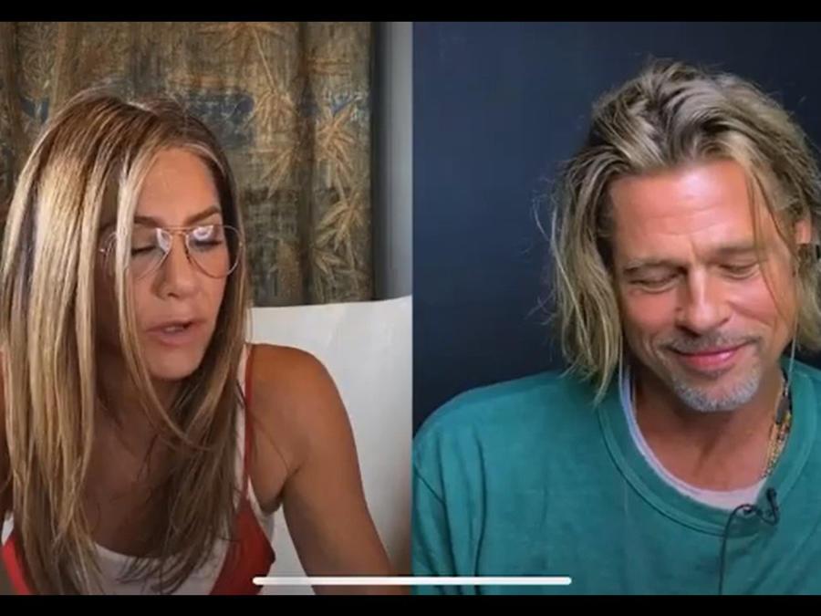 Brad Pitt y Jennifer Aniston en videollamada