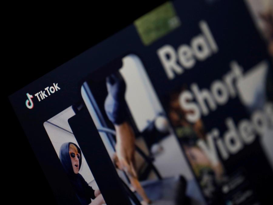 El logotipo de la aplicación TikTok en una pantalla en esta ilustración fotográfica tomada el 21 de febrero de 2019.