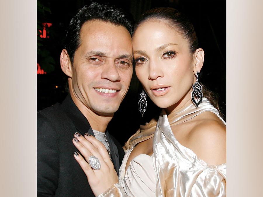 Marc Anthony y Jennifer Lopez en la cena de celebración por los VMA en septiembre de 2009 en Nueva York