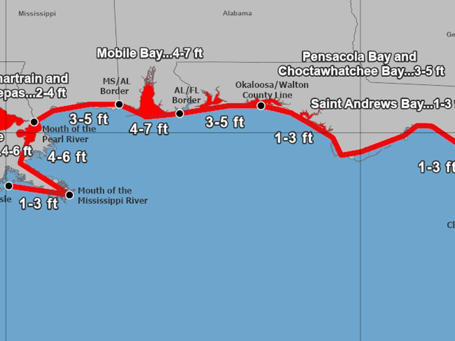Mapa de la altura de las marejadas que puede causar el huracán Sally.