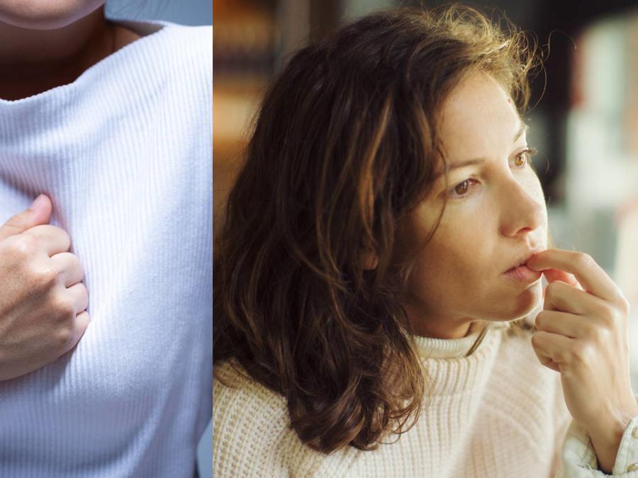 Mujer con dolor en el pecho y mujer confundida