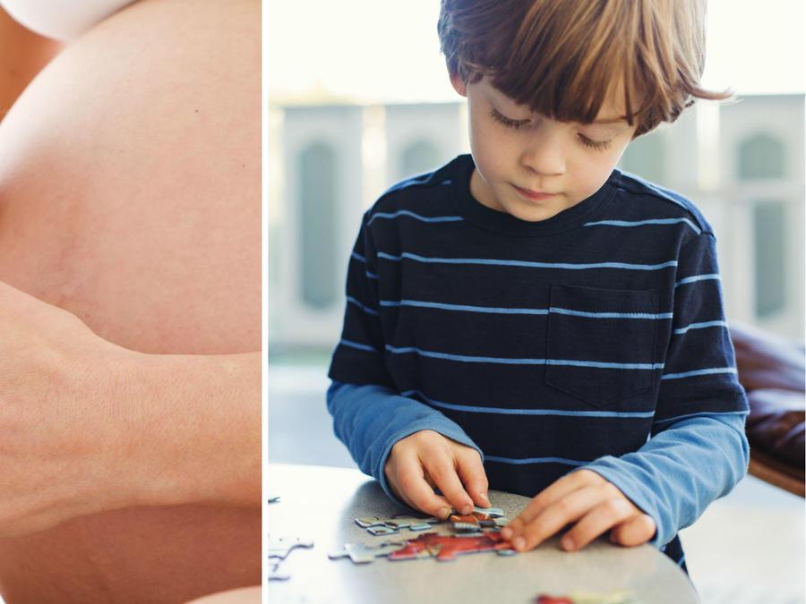 Mujer embarazada fumando mariguana y niño con autismo