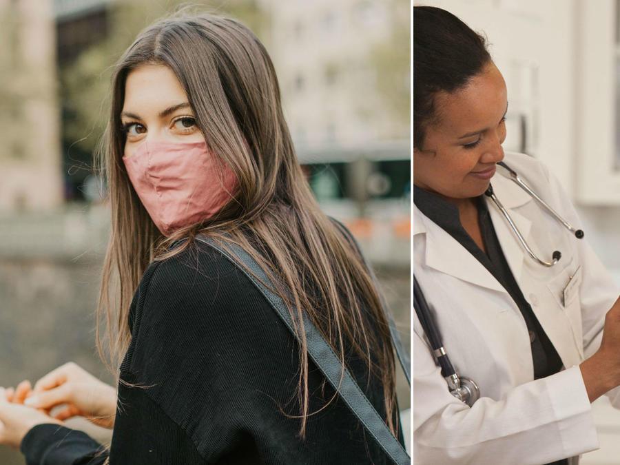 Mujer usando mascarilla y doctora aplicando vacuna